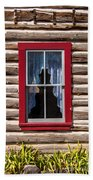 Red Window Log Cabin - Idaho Beach Towel