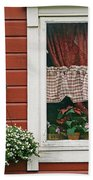 Red Wooden House With Plants In And By Beach Towel
