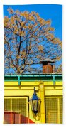 Red Yellow And Blue Building Beach Towel