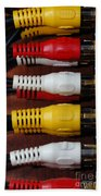 Red Yellow And White Cables Beach Towel