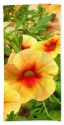 Red Yellow Morning Glories Beach Towel