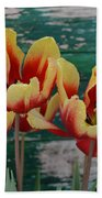 Red Yellow Tulips Beach Towel