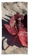 Reds And Purples - Deep Red Maple Leaf And Its Shadow Beach Towel