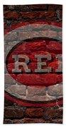 Reds Baseball Graffiti On Brick  Beach Towel