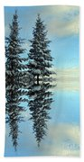 Reflecting Evergreens In Winter Beach Towel
