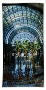 Reflecting On Palm Trees And Arches Beach Towel by Georgia Mizuleva