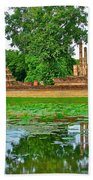 Reflecting Pool At Wat Mahathat In 13th Century Sukhothai Historical Park-thailand Beach Towel