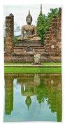 Reflecting Pool At Wat Mahathat In 13th Century Sukhothai Historical Park-thailand Beach Towel
