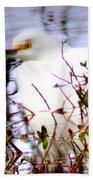 Reflection Of A Snowy Egret Beach Towel