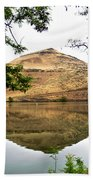 Reflection Of Butte Across From Lepage Rv Park Into Columbia River-oregon Beach Towel