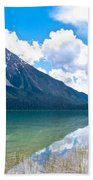 Reflection Of Glaciers And Clouds In Emerald Lake In Yoho National Park-british Columbia-canada Beach Towel