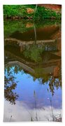 Reflection Of House On Water Beach Towel