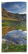 Reflections At The Mountain Lake Beach Towel