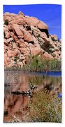 Reflections In Barker Dam By Diana Sainz Beach Towel