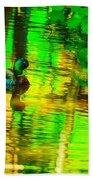 Reflections Of A Mallard Duck Beach Towel