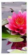 Reflections Of A Pink Waterlily  Beach Towel