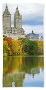 Reflections Of Autumn Central Park Lake  Beach Towel