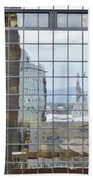 Reflections Of The Capitol Building In Denver Colorado Beach Towel