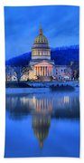 Reflections Of The West Virgina Capitol Building Beach Towel