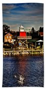 Reflections..two Rivers Pierhead Lighthouse Beach Towel
