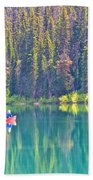 Reflective Fishing On Emerald Lake In Yoho National Park-british Columbia-canada  Beach Towel