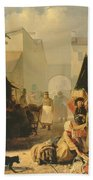 Refreshment Stall In St. Petersburg, 1858 Oil On Canvas Beach Towel