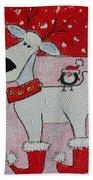 Reindeer Booties Beach Towel