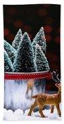 Reindeer With Christmas Trees Beach Towel