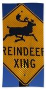Reindeer Xing Beach Towel