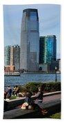 Relaxing Weekend On New York Harbor Beach Towel