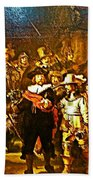 Rembrandt Painting Covered A Wall In Rijksmuseum In Amsterdam-netherlands Beach Towel