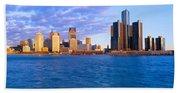 Renaissance Center, Detroit, Sunrise Beach Towel