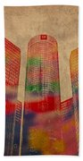 Renaissance Center Iconic Buildings Of Detroit Watercolor On Worn Canvas Series Number 2 Beach Towel