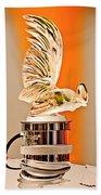 Rene Lalique -coq Nain - 1930 Bentley Speed Six H.j Mulliner Saloon Hood Ornament Beach Towel