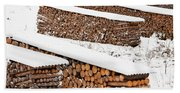 Renewable Heat Source Firewood Stacked In Winter Beach Towel