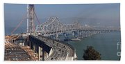 Replacement Of The Easter Span San Francisco Oakland Bay Bridge From Yerba Buena Island Oct 9th 2011 Beach Towel