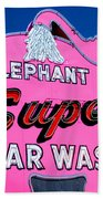 Elephant Super Car Wash Sign Seattle Washington Beach Towel