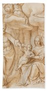 Rest On The Flight Into Egypt Beach Towel by Federico Zuccaro