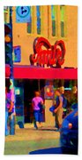 Restaurant Amir Internet Cafe Fast Food Plateau Montreal City Street Scene Art Carole Spandau  Beach Towel