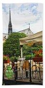 Restaurant On Seine Beach Towel by Elena Elisseeva