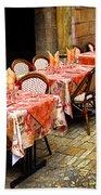 Restaurant Patio In France Beach Sheet