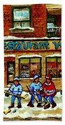 Restaurant Woodland Pizza Rue Wellington Verdun Original Hockey Art Montreal Paintings Commissions   Beach Towel
