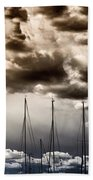 Resting Sailboats Beach Towel by Stelios Kleanthous