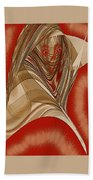 Resting Woman - Portrait In Red Beach Towel