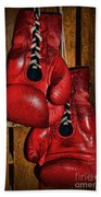 Retired Boxing Gloves Beach Towel by Paul Ward
