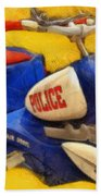 Retro Police Tricycle Beach Towel