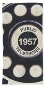 Retro Telephone 1957 Public Telephone Beach Towel