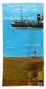 Returning Fishing Trawler  Beach Towel