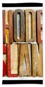 Rhode Island Antique Letterpress Printing Blocks Beach Towel