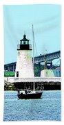 Rhode Island - Lighthouse Bridge And Boats Newport Ri Beach Towel